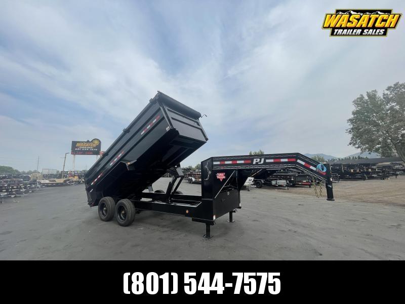 PJ - DE - 7x16 - Gooseneck - Heavy-Duty Dump Trailer