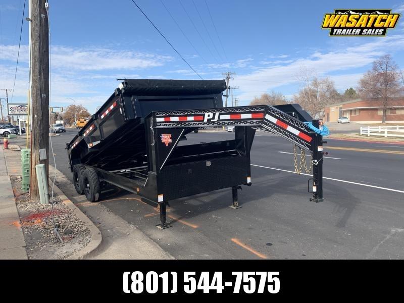 PJ - DL - 7x16 - Gooseneck - 2' Side - Dump Trailer