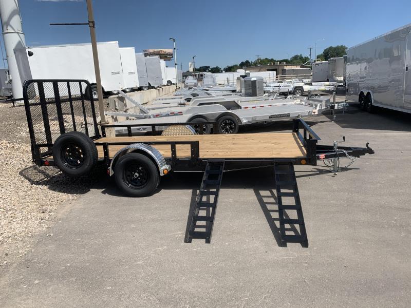 PJ 7x14 Single Axle Channel (U8) Utility w/ ATV Ramps