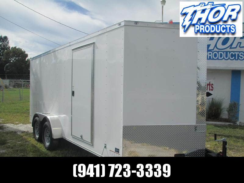 IN STOCK!! 7x16 Trailer White w/Ramp and side door!!  5200# AXLES!!