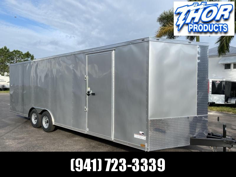8.5 X 24 V-nose 10K Car / Racing Trailer Silver with Ramp