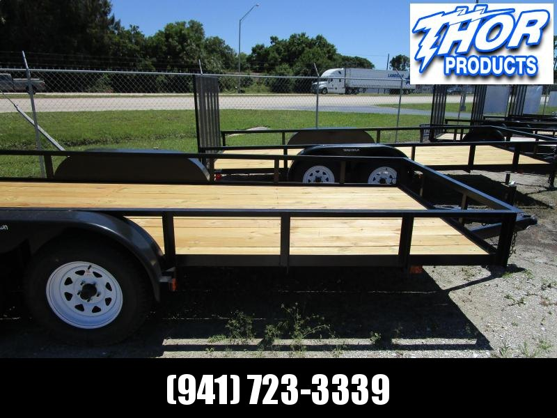 IN STOCK! 6'4 x 16 TA Utility Trailer with Ramp 1 axle has brake LED AND RADIALS