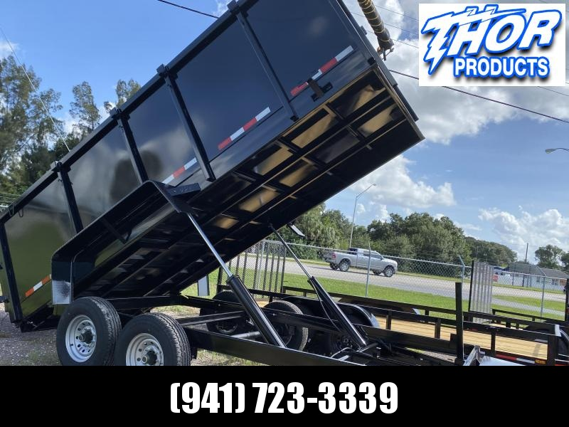 IN STOCK! 7x16 TA 14K Dump Trailer with 4' SIDES Ramps and Tarp Included