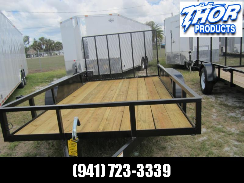 """IN STOCK! 6'4"""" X 12' TA Utility Trailer w/1 axle brake and ramp LED Lights"""