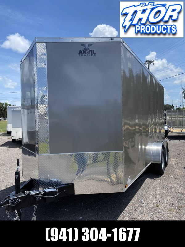 NEW 7 x 16 TA Enclosed Trailer V-nose PEWTER with Ramp 7' INTERIOR HEIGHT!! UTV GOLF CART HAULER