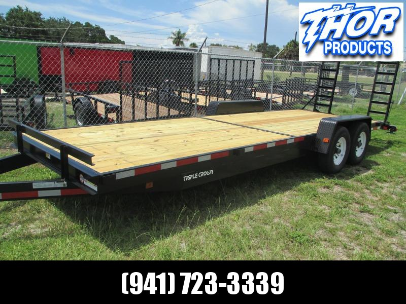 IN STOCK! 7 x 24 Equipment Trailer 16K w/Ramps with Spare Tire mount