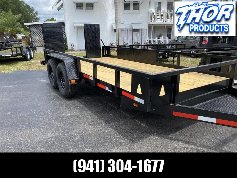 7x16 14K Skid Steer Equipment Trailer w/RAMPS & sides