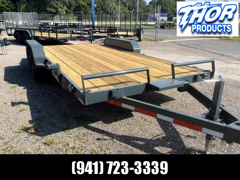 IN STOCK! 7X18 7K Car Hauling Trailer * Ramps * LED lights * Split front rail with Winch Plate