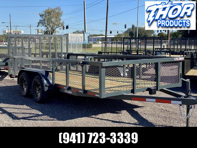 IN STOCK! 7X16 TA UTILITY TRAILER * 2FT MESH SIDES 2 BRAKE AXLES * TUBE TOP * LED LIGHTS GRAY