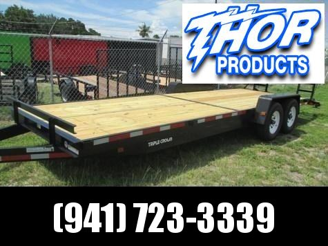 IN STOCK! 7 x 24 Equipment Trailer 14K w/Ramps with Spare Tire mount