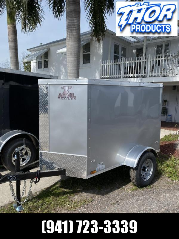 NEW 4X6 SA Trailer V-NOSE SILVER * SWING DOOR * RADIAL TIRES