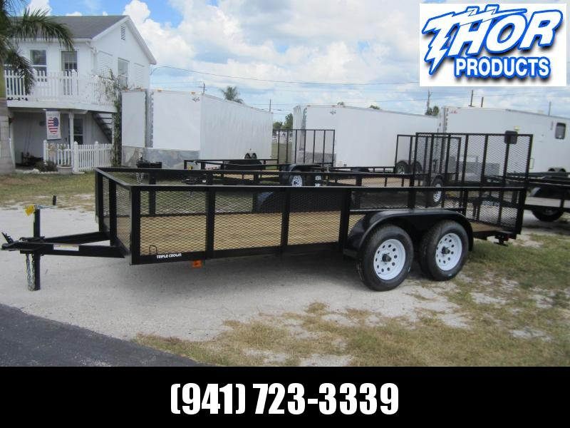 6'4 x 16 TA Utility Trailer w/2' Mesh Sides and Ramp LED's Radial Tires Spare mount