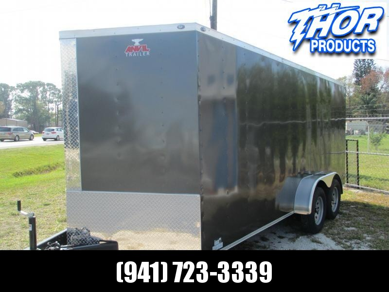 NEW 7 x 14 TA Enclosed Trailer V-nose CHARCOAL Ramp Sidewall Vents