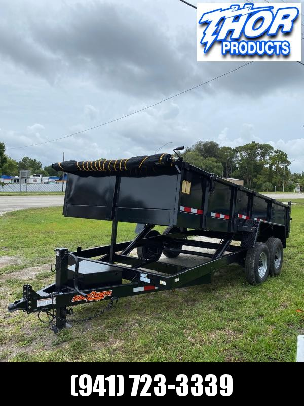 IN STOCK! 7x16 TA 14K Dump Trailer with 2' SIDES Ramps and Tarp Included