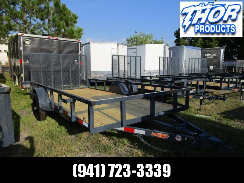"6'4"" x 12 SA Utility Trailer with 2' Mesh Tube Top Ramp LED Lights GRAY"