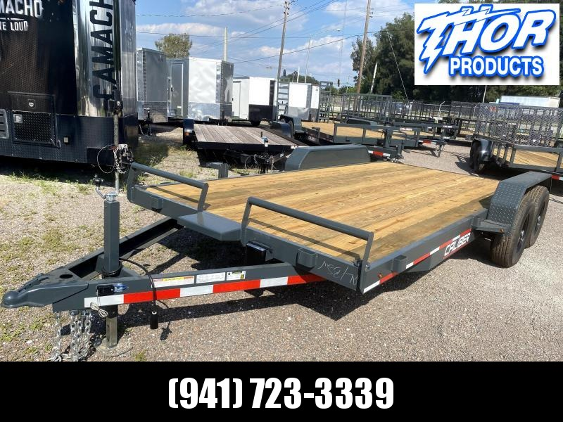 IN STOCK! 7X18 10K Car Hauling Trailer * Ramps * LED lights * Split front rail with Winch Plate
