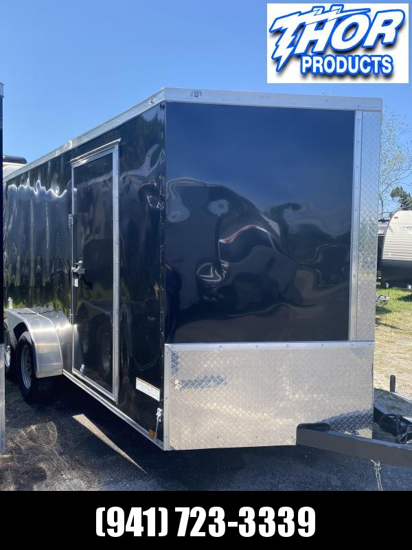 IN STOCK! 7X12 TA Enclosed Trailer with a Ramp in BLACK