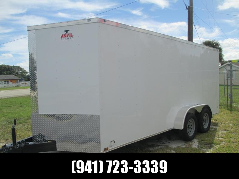 IN STOCK!! 7x16 Trailer White w/Ramp and side door