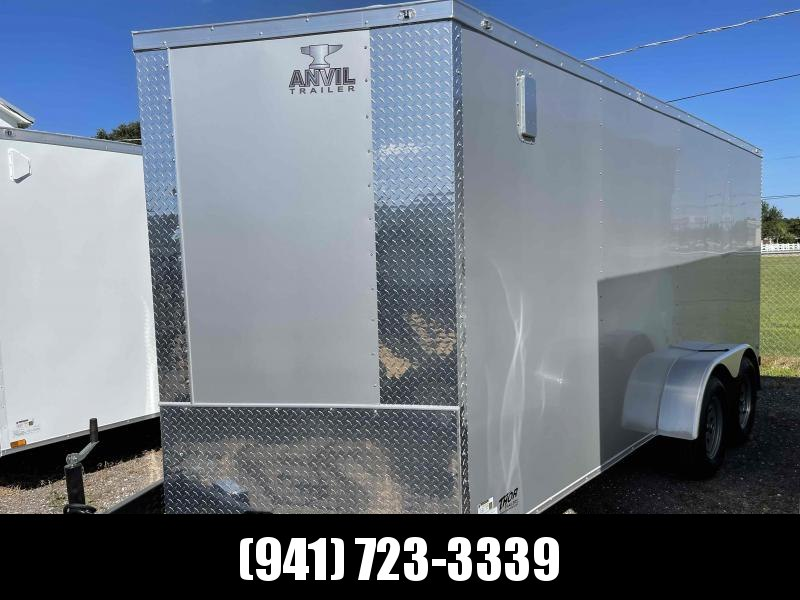 IN STOCK!! 7x16 Trailer SILVER w/Ramp and side door!!