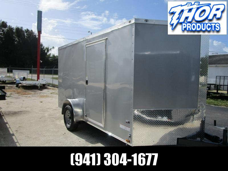 NEW 7X12 SA CARGO TRAILER W/RAMP SILVER