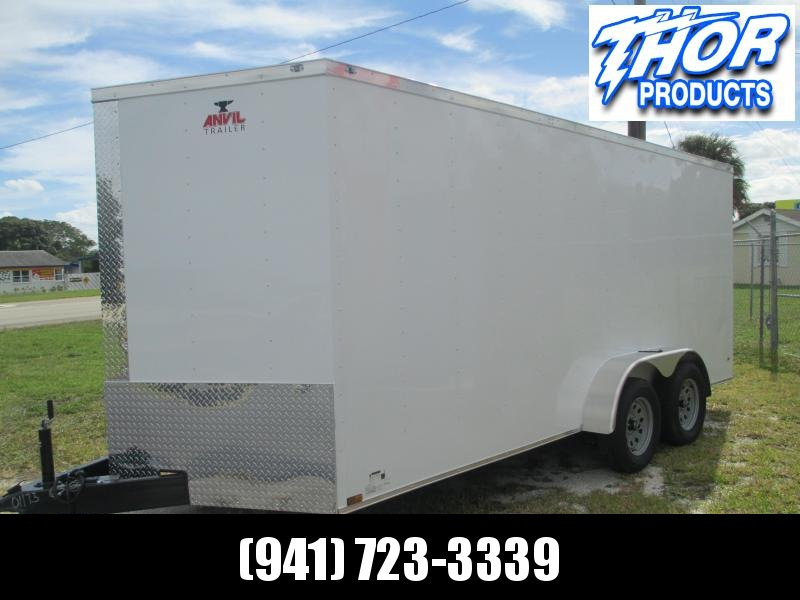 NEW 7x16 Trailer WHITE w/Ramp and side door!!