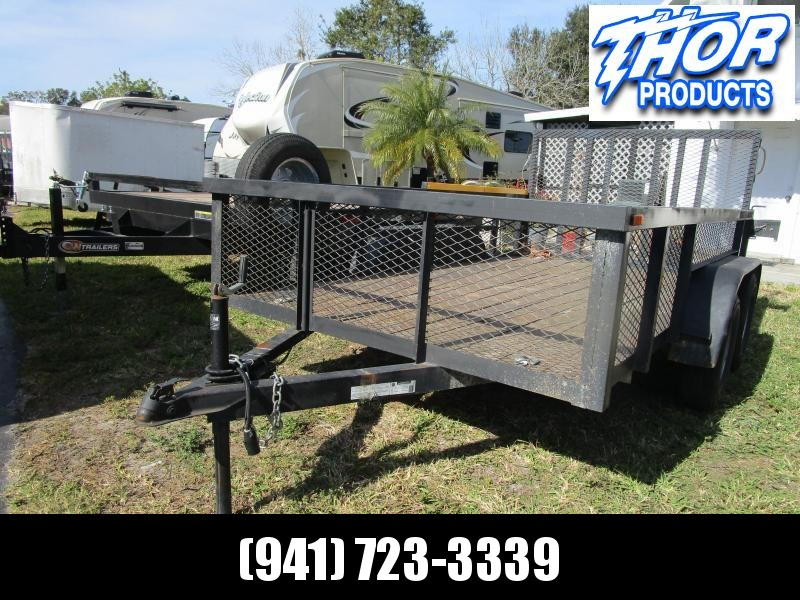 USED 6.10 x 12 TA Utility Trailer w/Tube Top * LED 2' Mesh Sides GORILLA LIFT