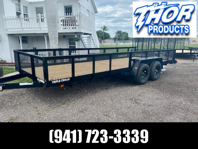 IN STOCK!  7X20 SUPER DUTY 10K UTILITY TRAILER W/2FT H/D MESH SIDES!