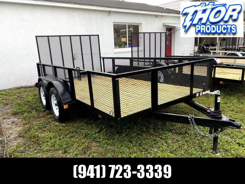 """NEW 6'4"""" X 12' TA Utility Trailer w/2' Mesh sides and 1 axle brake and ramp"""