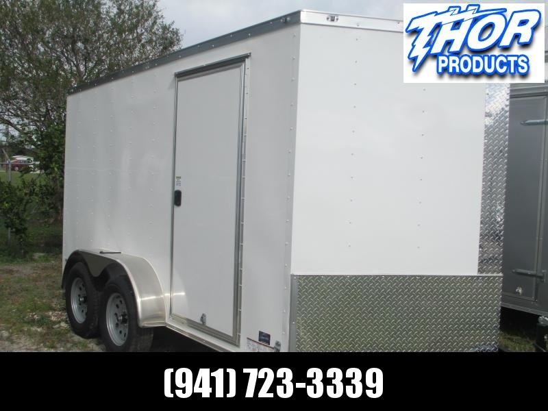 IN STOCK! 7 x 14 TA Enclosed Trailer V-nose White w/Ramp door