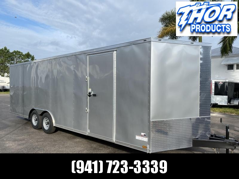 IN STOCK! 8.5 X 24 V-nose 10K Car / Racing Trailer Silver with Ramp OPTIONS!