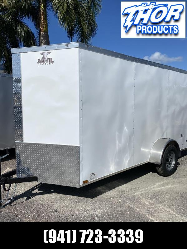 NEW 6 x 12 SA Trailer Double Rear Doors V-Nose Side Door White