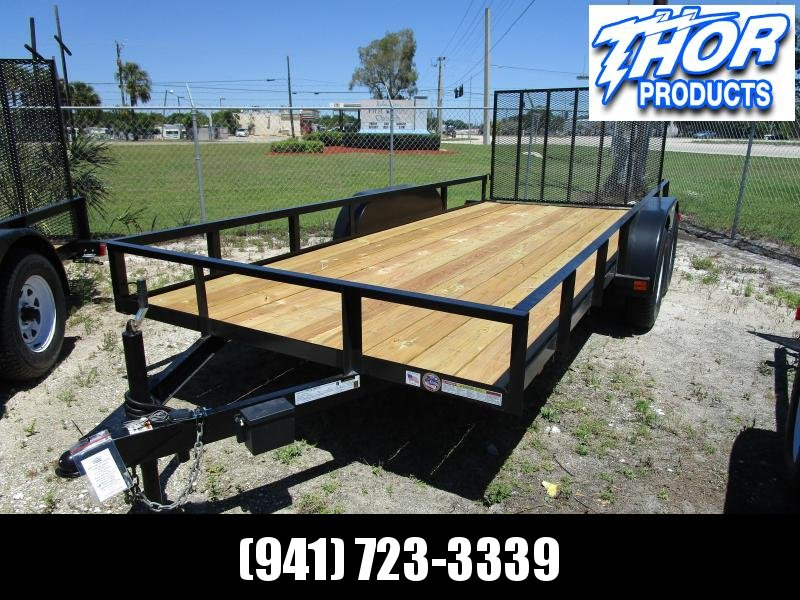 "NEW 6'4"" X 16' TA Utility Trailer w/1 axle brake and ramp"