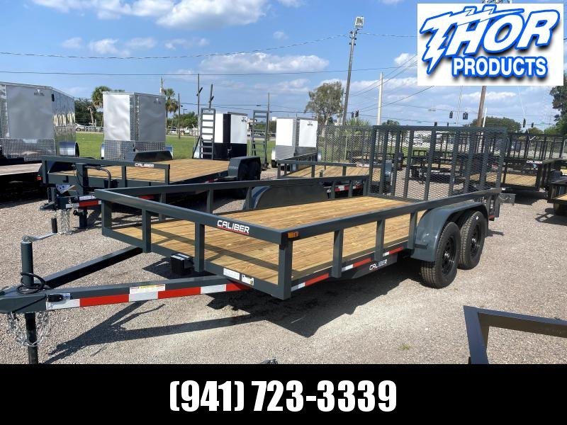 IN STOCK! 7X16 TA UTILITY TRAILER * 2 BRAKE AXLES * TUBE TOP * LED LIGHTS GRAY