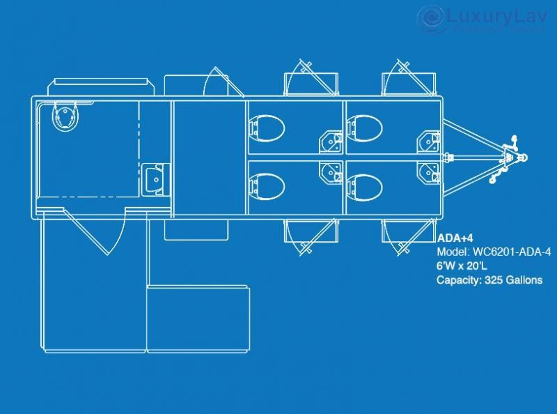 105 LuxuryLav WC ADA+4-  5-Stall Restroom Trailer