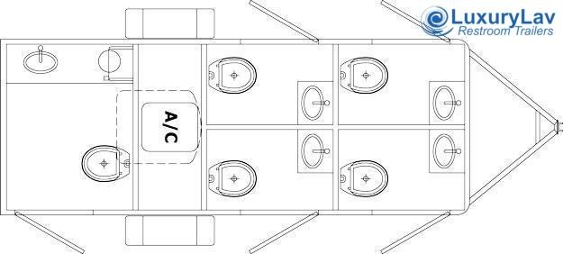 105 Narrow Body 5 Mini Restroom Trailer