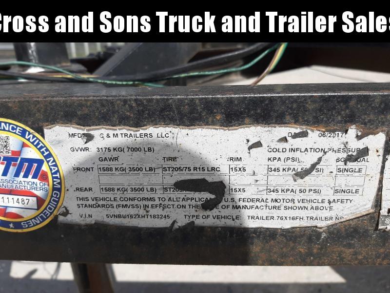 2017 C&M 716 Utility Trailer