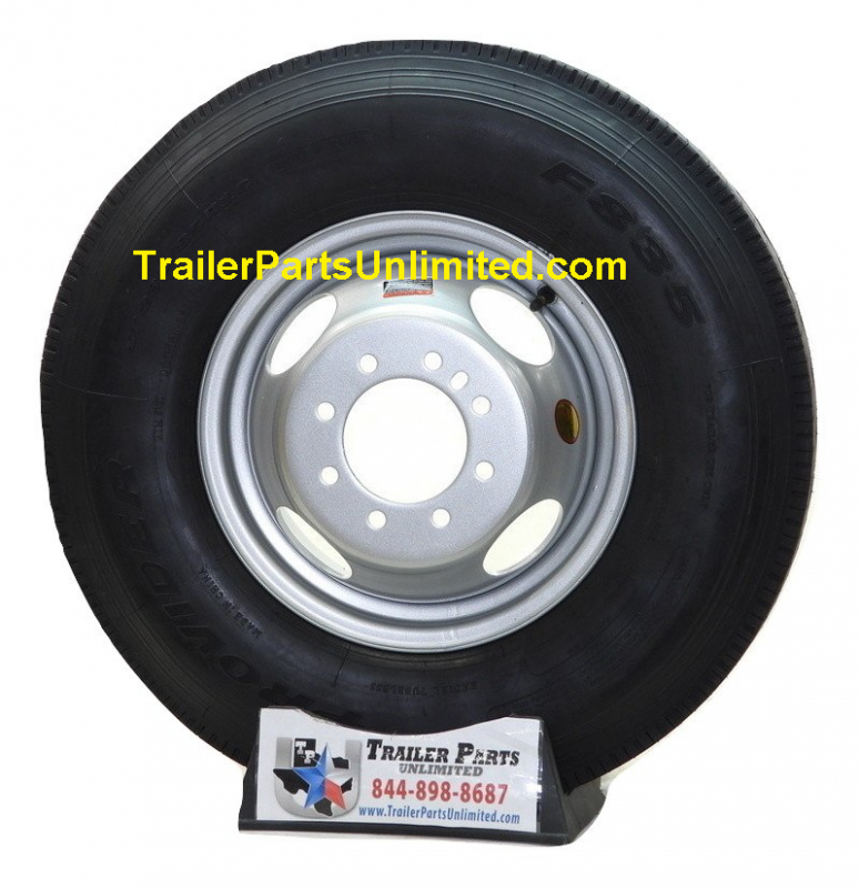 """16"""" 10-Ply trailer tire wheel combo - ST235/80R16 10 ply radial trailer tire mounted on single or dual wheels"""