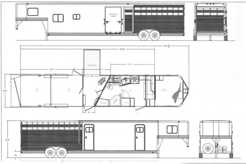 2022 Lakota Stock/Combo with 11' LQ Midtack 16' stock area Livestock Trailer