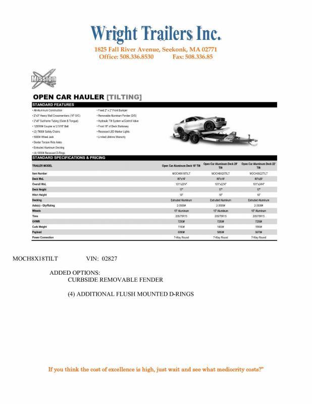 """2021 Aluminum Mission Car Trailer 80""""x18' Tilt"""