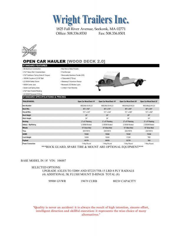 2021 Mission MOCH8X18 Car / Racing Trailer
