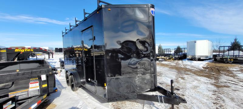 2021 Interstate 7x16 BLACKOUT Enclosed Cargo Trailer with Ramp and Extra Height and Ladder Racks
