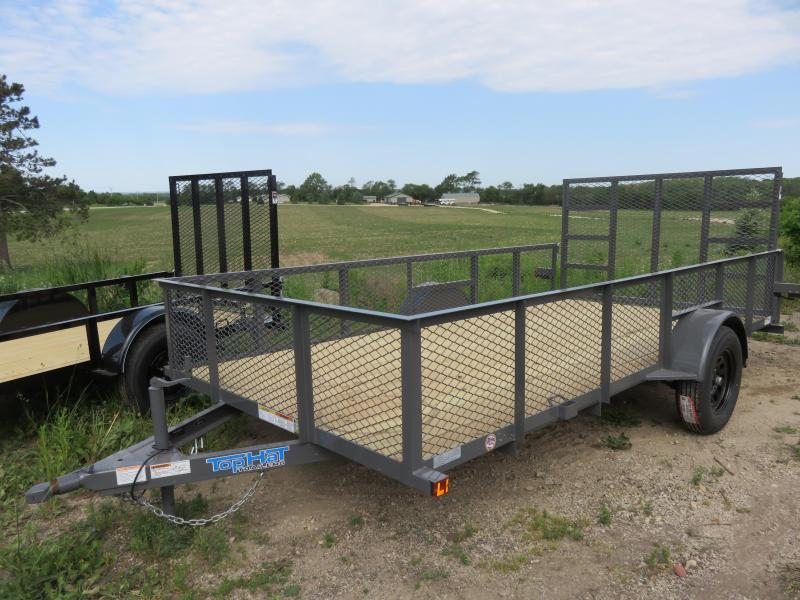 """2021 Top Hat Trailers 14x83 MRAX Utility Trailer with 24"""" Expanded Metal Sides"""