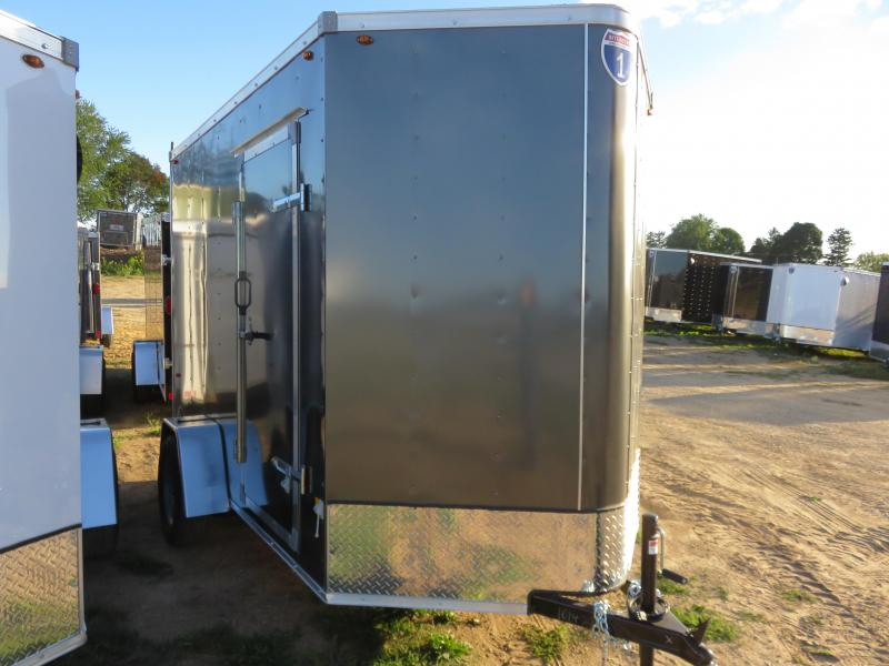 2021 Interstate 6x10 Enclosed Cargo Trailer-Charcoal with Ramp and Extra height