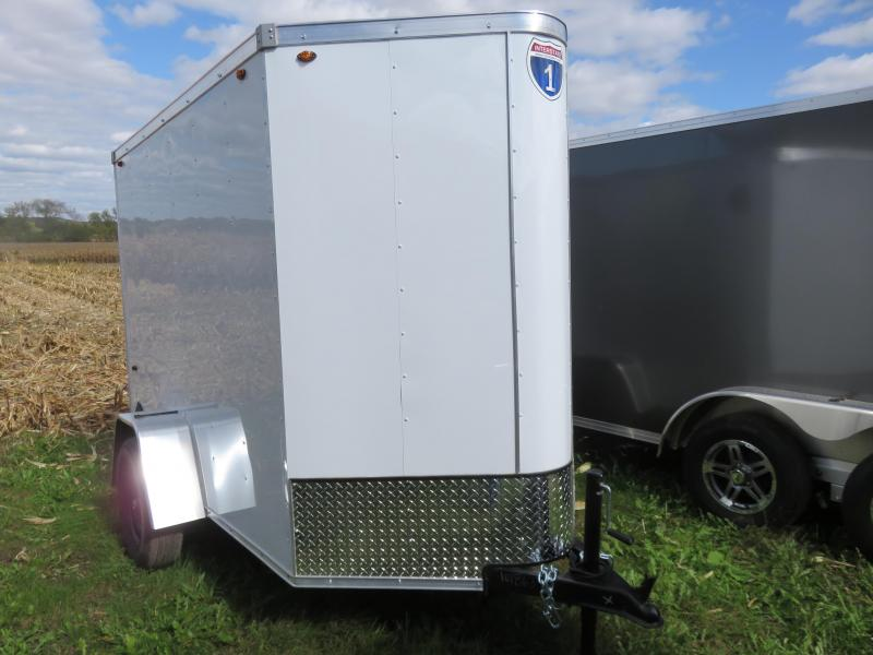 2021 Interstate 5x8 Enclosed Cargo Trailer-White with Ramp & Extra Height