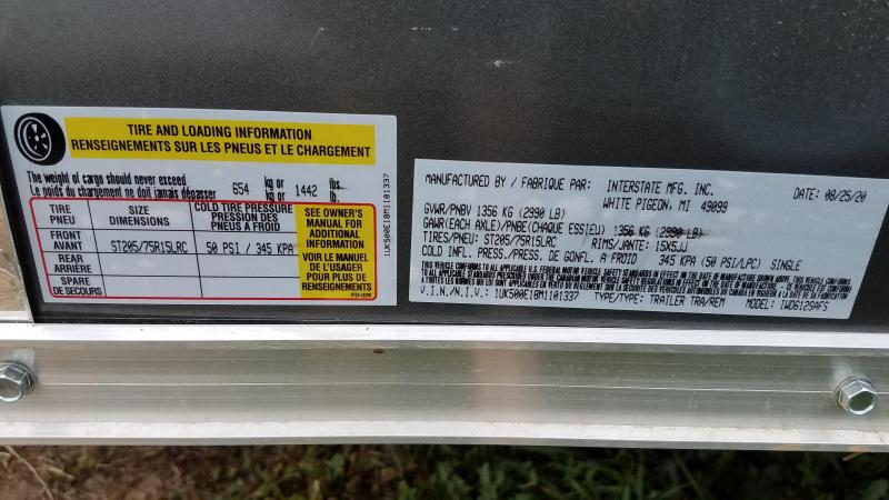 2021 Interstate 6x12 Enclosed Cargo Trailer Charcoal with Rounded Top