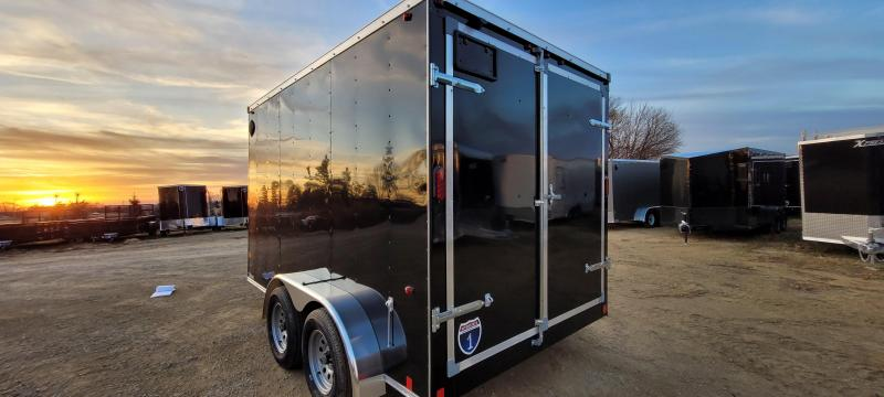 2021 Interstate 7x12 Tandem Axle Enclosed Cargo Trailer black with ramp