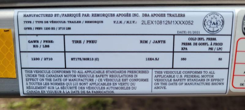 2021 Apogee Adapt-X 400 (5'x8') Utility Trailer