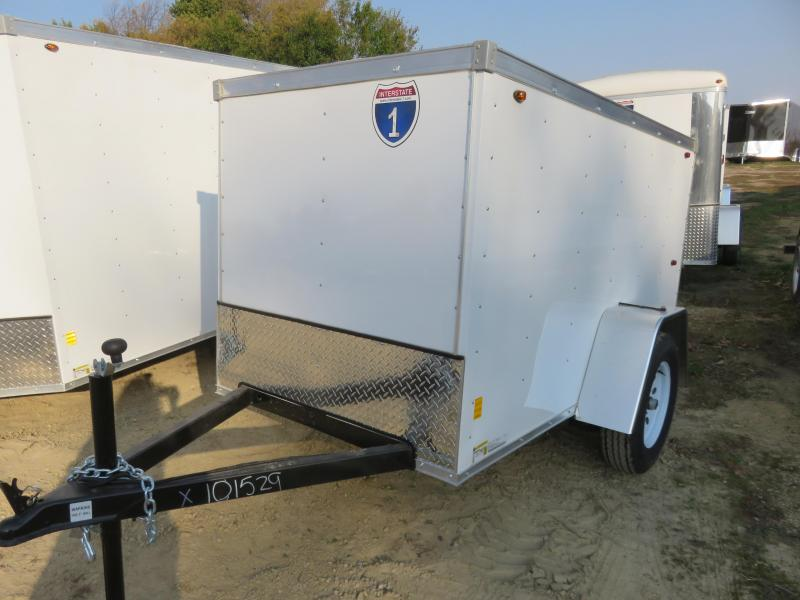 2021 Interstate 4x8 Enclosed Cargo Trailer- White with Ramp