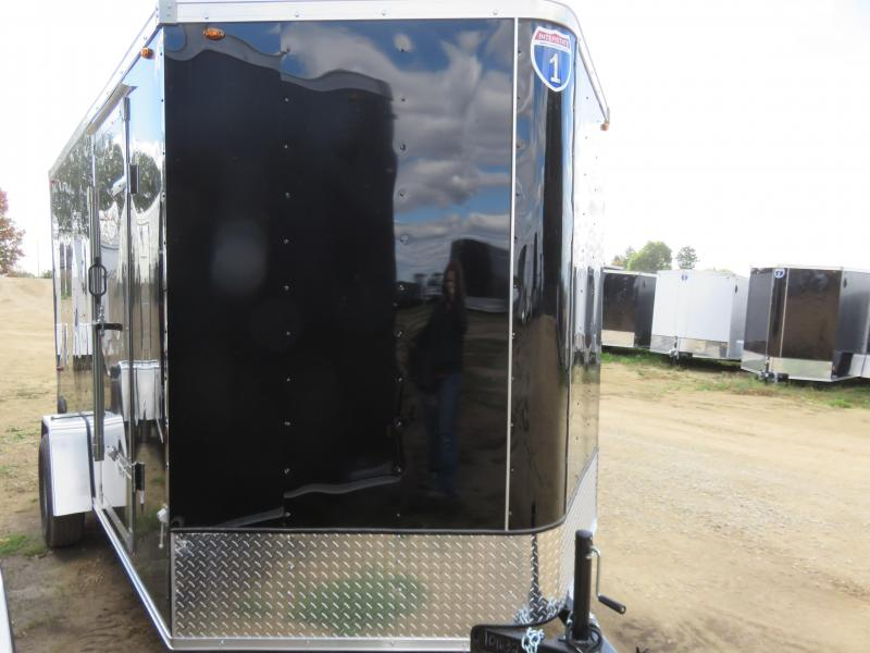 2021 Interstate 7x12 Single Axle Enclosed Cargo Trailer black with ramp