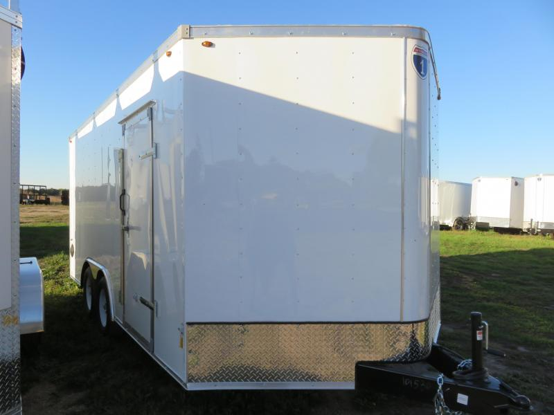2021 Interstate 8.5x16 Enclosed Cargo Trailer White with Ramp